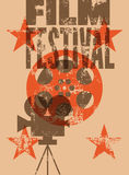 Filmfestivalaffisch Retro typografisk grungevektorillustration Royaltyfri Foto