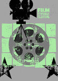 Filmfestivalplakat Retro- typografische Schmutzvektorillustration Stockbild