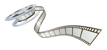 Filmfilm, der aus Filmbandspule heraus spoolt Stockbilder