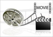 Filmfilmbio på vit bakgrund Arkivbild