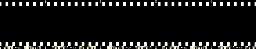 FilmFrame (x4_5). 35 mm Photographic Film Strip (4 Frames long, with frame numbers and film code Stock Illustration