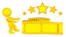 filmguldillustrationen introducerar manremsayellow Arkivfoton