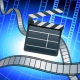 Filmi la scheda di valvola e della striscia su priorità bassa blu Fotografia Stock Libera da Diritti