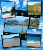 Filmi le zolle della pellicola e della striscia, immagine blu della laguna Immagini Stock Libere da Diritti
