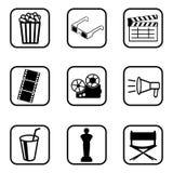 Filmikonen eingestellt auf weißen Hintergrund lizenzfreie abbildung