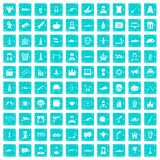 100 Filmikonen stellten Schmutz blau ein Stockbild