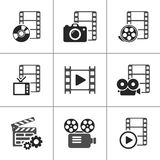 Filmikonensatz auf Weiß Einkaufsumbauten und -ikonen Lizenzfreies Stockfoto