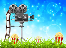 Filming. In the nature. Vector illustration Stock Images