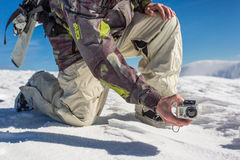 Filming with action camera Stock Images