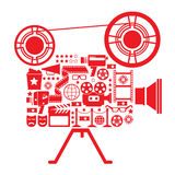 Filming camera Illustration. Composition with cinema symbols in a shape of filming camera Royalty Free Stock Images
