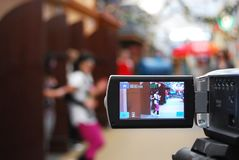 Filming a clip. For school project in the entertainment centre. Music and dancing. Detail of digital camera royalty free stock photos