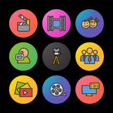 Filming color icons set. Movie clapperboard, video film, play button, videographer, children. Smart watch UI style. Filming color icons set. Movie clapperboard Royalty Free Stock Photos