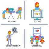 Filming editind advertisemen screening cinema. Movie flat concept set modern trendy vector illustration Stock Photography