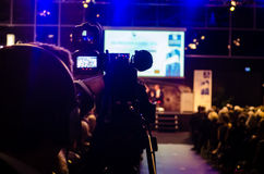 Filming. The event on stage Stock Image