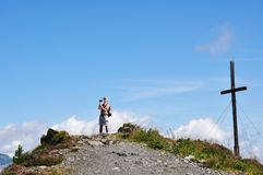 Filming hiker Royalty Free Stock Photography