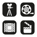 Filming icons set. Film camera, video, reel, movie clapperboard symbol. Vector white silhouettes illustrations in black squares Stock Image