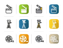 Filming icons set. Flat design, linear and color styles. Movie clapperboard, film camera, reel symbol. Isolated vector. Illustrations Stock Images