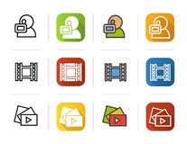 Filming icons set. Flat design, linear and color styles. Videographer, video film, play button symbol. Isolated vector Royalty Free Stock Photography