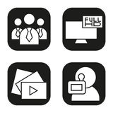 Filming icons set. Men in ties, video play button, Full HD television, videographer symbol. Vector white silhouettes. Illustrations in black squares Stock Image