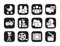 Filming icons set. Movie clapperboard, video film, play button, videographer, children symbol. Vector white silhouettes. Illustrations in black squares Royalty Free Stock Image