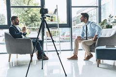 Filming interview. royalty free stock photos