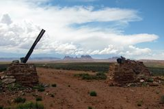Filming location of movie Once Upon a Time in the West near Monument Valley. stock image