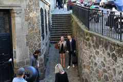 Filming on Montmartre in Paris, France Royalty Free Stock Images