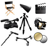 Filming movie icons. A vector illustration of filming movie icon sets Royalty Free Stock Images