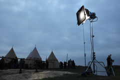 Filming of the new movie The Knights. MILOVICE, CZECH REPUBLIC - OCTOBER 23, 2013: Filming of the new movie The Knights directed by Carsten Gutschmidt near stock photography