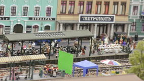 Filming pavilion with decorations. ST. PETERSBURG - JULY 2016: Filming pavilion with decorations in small city, Russia. The Grand Maket, which opened in 2011, is stock video footage
