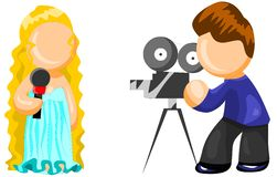 Filming  shooting icon. Illustration for web. Cameraman shooting the girl with microphone Stock Photos