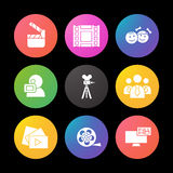 Filming silhouette icons set. Movie clapperboard, video film, play button, videographer, children. Smart watch UI style. Filming silhouette icons set. Movie Stock Photos
