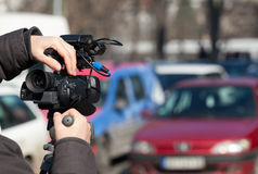 Filming a traffic jam Royalty Free Stock Photos