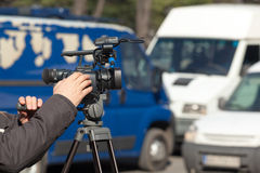 Filming a traffic jam Royalty Free Stock Photo