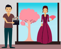 Filming. Young woman in vintage dress ready to shoot a new scene. Vector illustration Stock Photography
