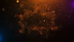 Filmisk titelanimeringexplosion med brandpartiklar stock illustrationer