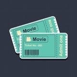 Filmkaartjes op blauw canvas Stock Fotografie