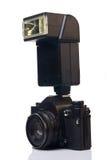 Filmkamera mit Blinken Lizenzfreie Stockbilder