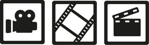 Filmkinoikonen - Kamera, Filmrolle und clapperboard stock abbildung