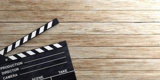 Filmklep op houten oppervlakte 3D Illustratie Stock Afbeeldingen