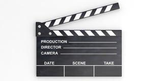 Filmklep op witte achtergrond 3D Illustratie Stock Afbeelding