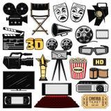 Filmkonst och retro filmbiosymboler vektor illustrationer