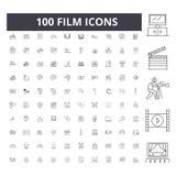 Filmlinje symboler, tecken, vektorupps?ttning, ?versiktsillustrationbegrepp stock illustrationer