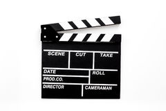 Filmmaker profession. Clapperboard on white background top view.  Royalty Free Stock Image