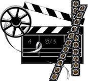 Filmmaker stuff. Movie clapper board, film strip and retro reel Stock Photo