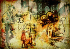 Filmmakers. From the film history: The whole crew filming a movie on the street with child actors. Vintage (in the grunge-retro style) drawing drawn on the old Royalty Free Stock Photo
