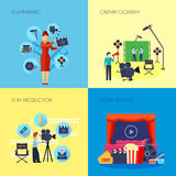 Filmmaking Concept 4 Icons Square Stock Photo
