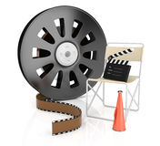 Filmmaking concept. On white. 3d rendered image Royalty Free Stock Images