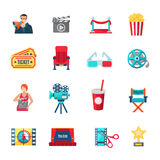Filmmaking Icons Set. Filmmaking and production icons set with cinema director and awards flat isolated vector illustration Royalty Free Stock Image