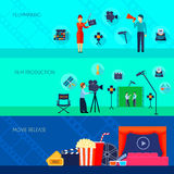 Filmmaking Movie Release 3 Flat Banners. Filmmaking and making movie available for audience on release day 3 flat banners set isolated vecor illustration Royalty Free Stock Image